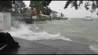 Download Sturm und Hochwasser am Bodensee, Lindau, Römerbad Video
