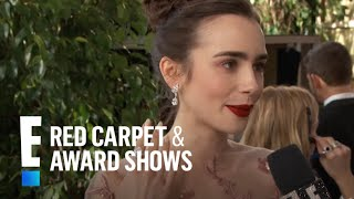 Download Lily Collins ″Drops the Mic″ for Meryl Streep | E! Live from the Red Carpet Video
