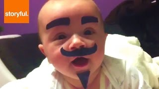Download Dad Sticks Moustache and Goatee on Baby Video