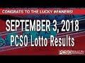Download PCSO Lotto Result Today September 3, 2018 (6/55, 6/45, 4D, Swertres, STL & EZ2) Video