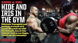 Download Hide Yamagishi and Iris Kyle train arms and abs Video