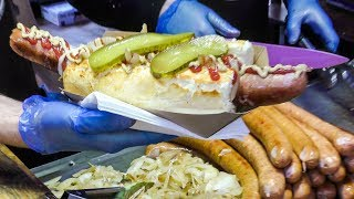 Download Huge Kielbasa Sausages from Poland Tasted in Greenwich Market. London Street Food Video