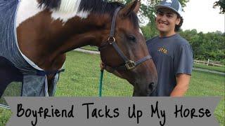 Download MY BOYFRIEND TACKS UP MY HORSE Video