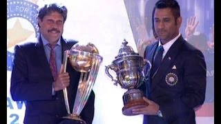 Download Kapil and Dhoni exchange World Cup trophies - Rare Video Video