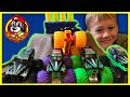 Monster Jam Toys - Grave Digger CHALLENGE (ft Grim Take Down, Champ Ramp Freestyle, Ship it Flip it)