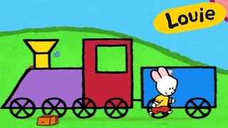 Download Cartoon for kids - Louie draw me a Train HD | Learn to draw Video