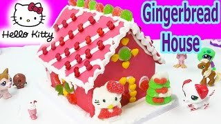 Download Hello Kitty Holiday Candy Pink Gingerbread Cookie House Making Kit Set Frosting Gummy Christmas Food Video