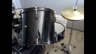 Download New Gammon Drum Set Black 5-Piece Complete Full Size with Cymbals Stands Stool Sticks Video