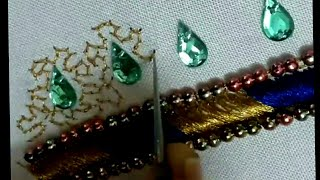 Download Double colour load stich with kunthan and pani STITCH Bridal neck line 3 Video