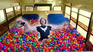 Download 100,000 PLASTIC BALLS IN MY SCHOOL BUS! (driving) Video