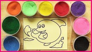 Download Đồ chơi trẻ em TÔ MÀU TRANH CÁT HÌNH CÁ HEO Colored Sand Paiting (Chim Xinh) Video