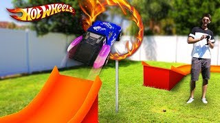 Download HOT WHEELS RING OF FIRE *RC CAR JUMP* (GIANT Backyard Hot Wheels Track) Video
