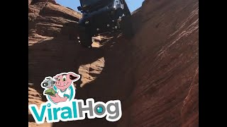 Download Jeep Drives Down Vertical Chute || ViralHog Video