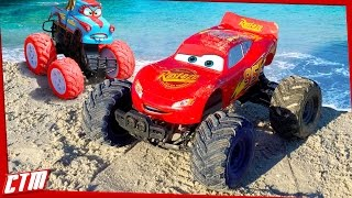 Download Disney Pixar CARS TOON Monster Truck McQueen &Tormentor Tow Mater stunts on the beach Seaside Action Video