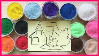 Download Đồ chơi trẻ em TÔ MÀU TRANH CÁT HÌNH NGÔI NHÀ Colored Sand Paiting (Chim Xinh) Video
