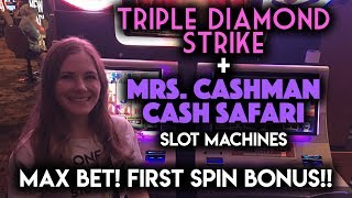 Download Mrs Cashman CASH Safari First Spin BONUS Re-Trigger!!! Triple Strike Diamonds Max Bet! Video