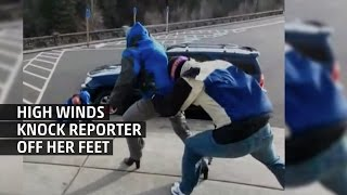 Download Weather Gone Viral: Reporter Knocked Off Feet by High Wind Video