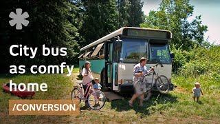 Download Old Denver city bus transformed as young family's comfy home Video