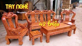 Download Bộ ghế Minh Quốc Đào tay 12 gỗ Hương Đá mặt tràn 2cm Cực Đẹp Video