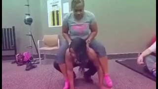 Download Strong Woman (Marcie Simmons) Squats Fellow Iron Sister On Her Shoulders!!! Video
