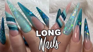 Download Long STILETTO blue and Teal Acrylic nail Design | Nail Mate Video