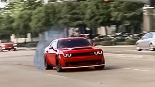 Download Challenger DEMON Gets SIDEWAYS Leaving Cars and Coffee! - Houston Cars and Coffee September 2018 Video