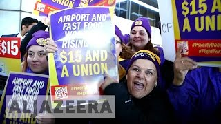 Download Large US protests call for $15 minimum wage Video