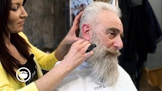 Download Old School Men's Haircut with Big Beard Trim | Cut & Grind Video