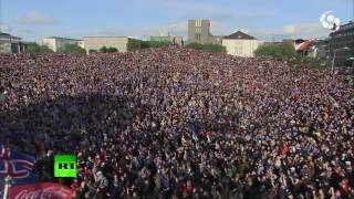 Download Epic Viking war chant: 10,000 fans pay tribute to Iceland team leaving Euro 2016 Video