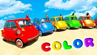 Download LEARN COLOR MICROCARS w/ SUPERHEROES For Kids and Babies Nursery Rhymes Video