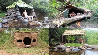 Download Primitive Technology: Build Stone Hut, House in the Trunk, Hobbit House, Tiled Roof Hut Video