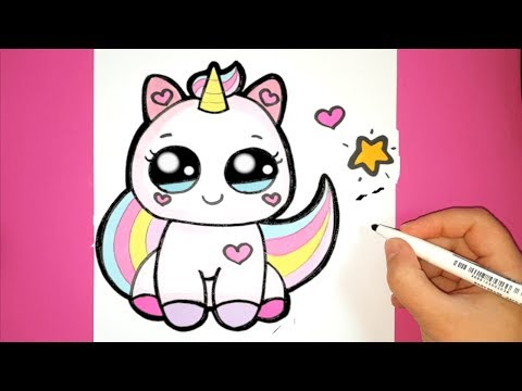 How to Draw a Cute Baby Unicorn - SUPER EASY - HAPPY DRAWINGS