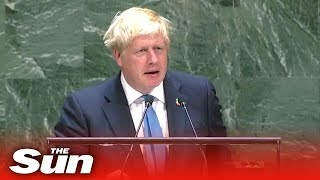 Download Boris Johnson's speech on Brexit, AI robots and chicken at the UN Video