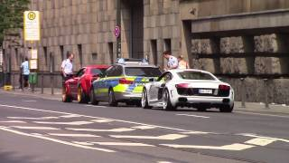 Download Police chase Prior-Design Challenger Hellcat and R8 in Dusseldorf Video