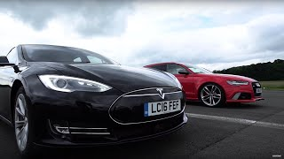 Download Tesla Model S vs Audi RS6 - Top Gear: Drag Races Video