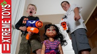 Download Haunted Doll Attacks! Ethan and Cole Blast a Crazy Toy with Nerf Blasters. Video