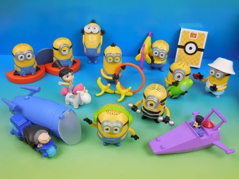 2017 DESPICABLE ME 3 SET OF 12 McDONALDS HAPPY MEAL KIDS MOVIE TOYS VIDEO REVIEW USA RELEASE