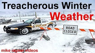 Download treacherous winter weather, cars planes trains sliding on icy roads, stuck in snow storm + timelapse Video