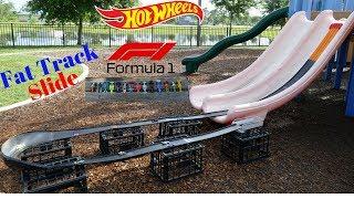 Download Hot Wheels fat track slide Formula 1 tournament race Video