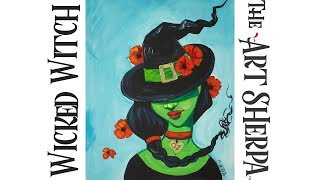 Download How to paint Acrylic on canvas The Wicked Witch a Beginner tutorial LIVE Video