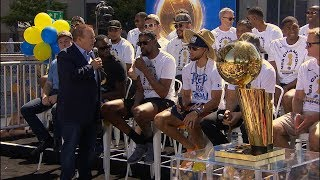 Download Steph Curry, Kevin Durant and Draymond Green speak before Warriors' championship parade Video