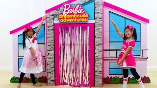 Download Emma & Jannie Pretend Play with Giant Cardboard Barbie Playhouse and Girl Toys Video