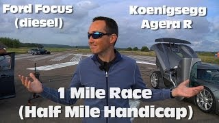 Download Koenigsegg Agera R vs Ford Focus 1 Mile Drag Race (with half mile head start) Video