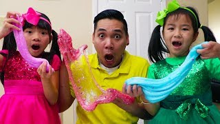 Download Jannie & Emma Pretend Play Making Satisfying Slime w/ Funny Colored Surprise Balloons Video