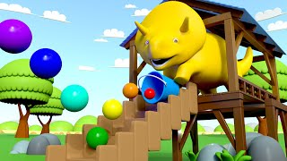 Download Dino plays bouncing balls and learns colors! - Learn with Dino the Dinosaur 👶 l Educational Cartoon Video