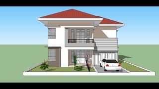 Download Menggambar Rumah 2 lantai minimalis dengan Google Sketchup Video