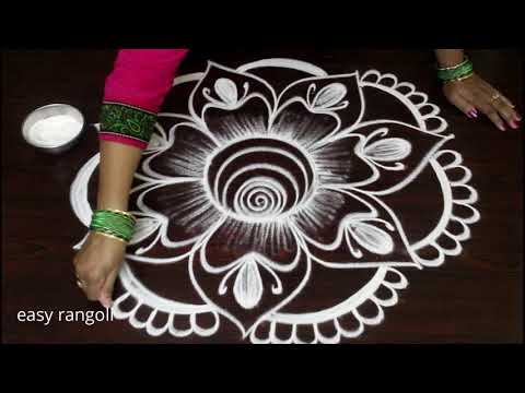beautiful & creative flower kolam ||easy rangoli by Suneetha ||new Vijayadasami muggulu