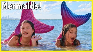 Download FIN FUN MERMAID HAUL! We turn into the little mermaid & swim at the beach - kid toy review Video