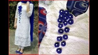 Download designer kurti with hand embroided flowers Video