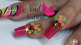 Download Uñas de acrilico flores espiral 3D paso a paso Video